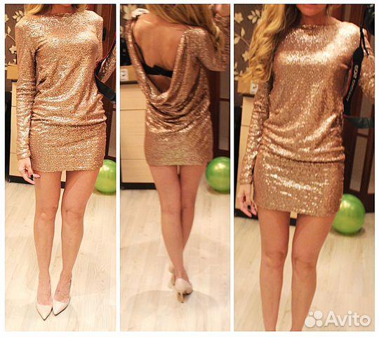 Золотистые короткие платья 325
