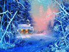 Картина бисером Зимний пейзаж