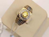 """Золотое кольцо печатка """"Ролекс"""" с бриллиантами"""