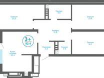 3-к квартира, 92.4 м², 12/23 эт. — Квартиры в Тюмени