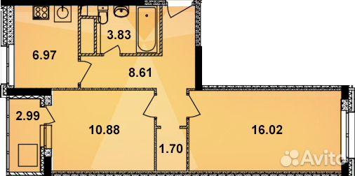 Продается двухкомнатная квартира за 2 703 200 рублей. улица Кирова, 21.