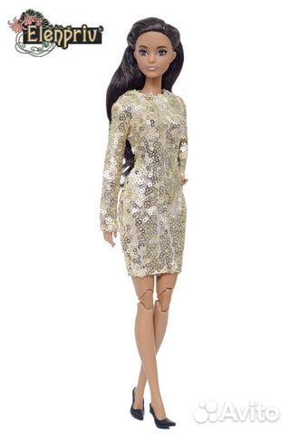 Одежда для куклы Барби платье с пайетками золото