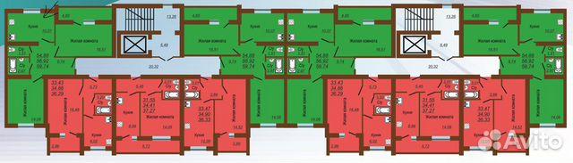 2-к квартира, 59.8 м², 10/10 эт.