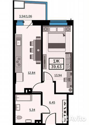 1-к квартира, 39.5 м², 11/26 эт. купить 1