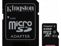 Карта памяти kingston microSD 64Gb class10 (100Mb