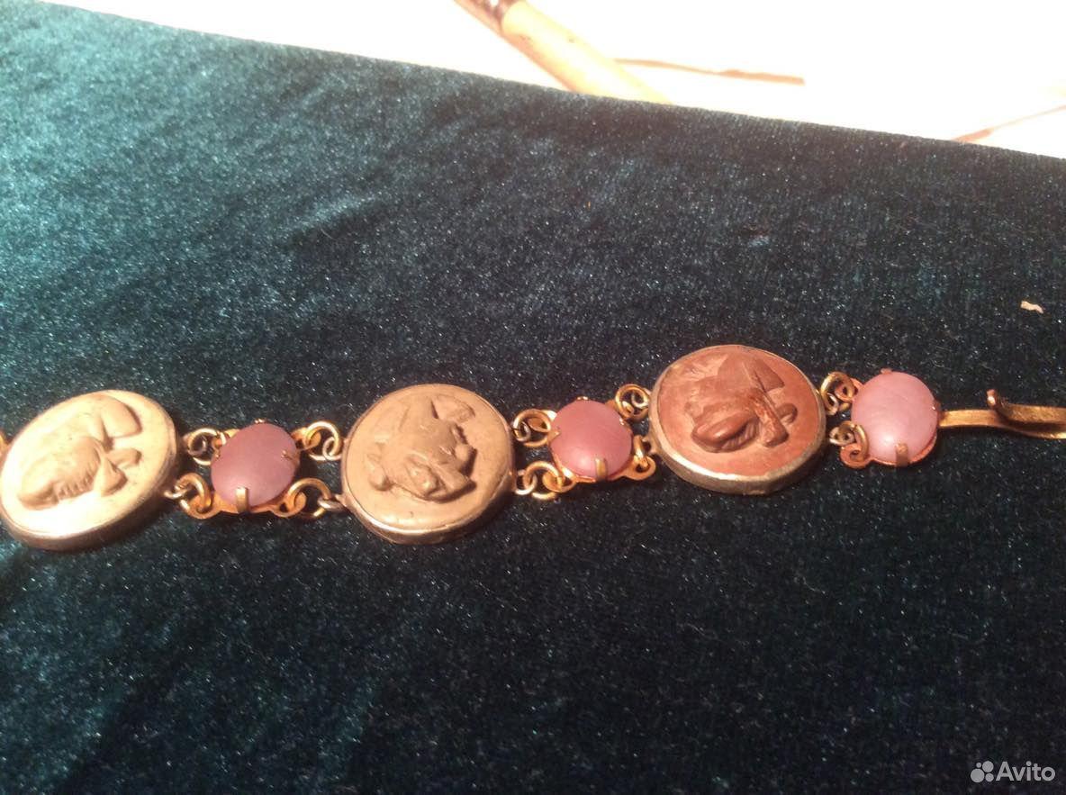Антикварный браслет с камеями и сапфиритами