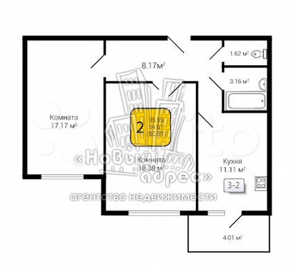2-к квартира, 60.8 м², 5/10 эт.  89587935438 купить 4